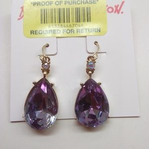 Betsey Johnson New Amethyst Teardrop Earrings